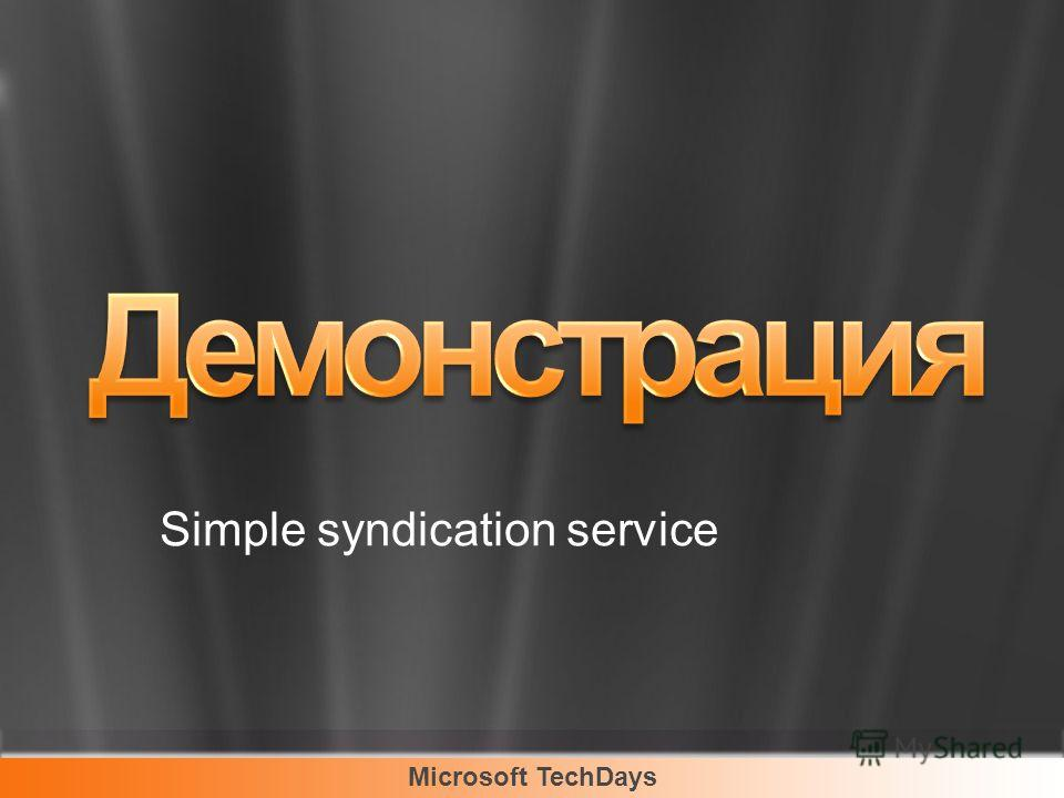 Microsoft TechDays Simple syndication service