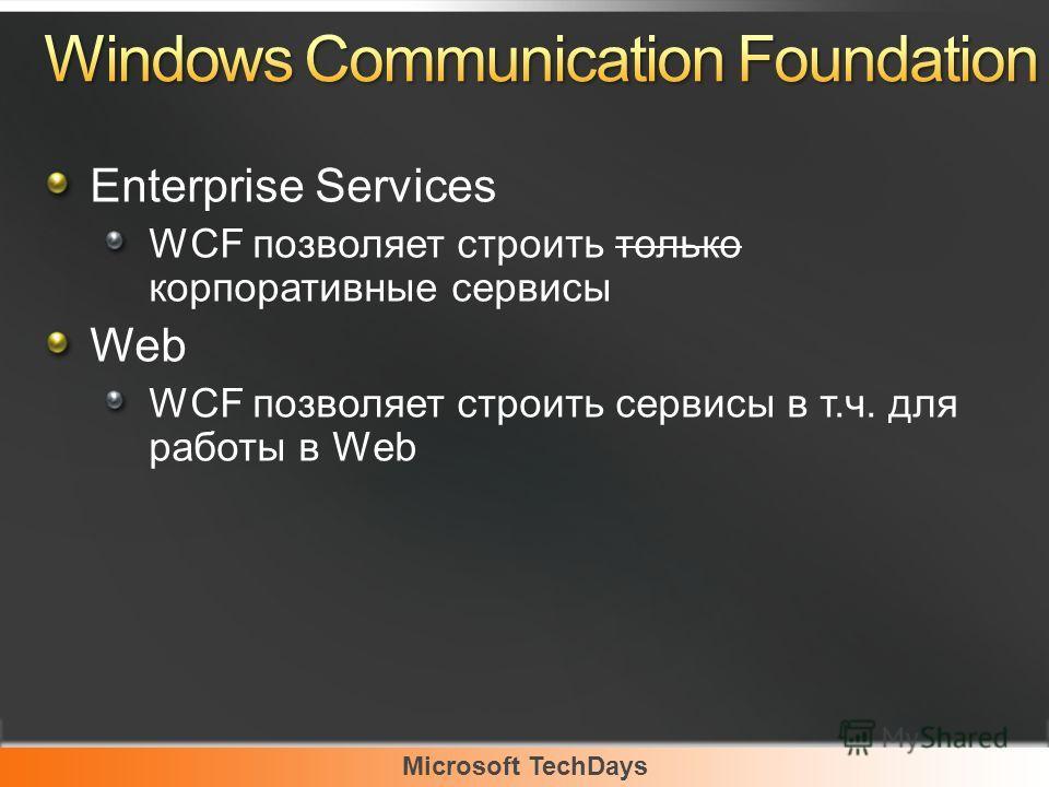 Microsoft TechDays Enterprise Services WCF позволяет строить только корпоративные сервисы Web WCF позволяет строить сервисы в т.ч. для работы в Web