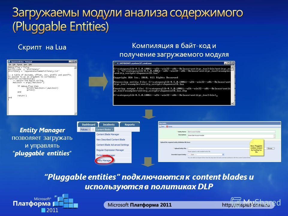 Компиляция в байт-код и получение загружаемого модуля Entity Manager позволяет загружать и управлятьpluggable entities Pluggable entities подключаются к content blades и используются в политиках DLP Скрипт на Lua