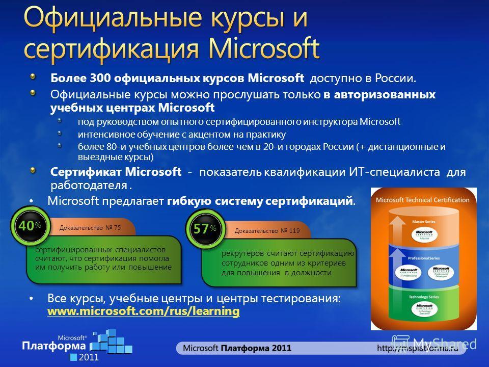 Более 300 официальных курсов Microsoft доступно в России. Официальные курсы можно прослушать только в авторизованных учебных центрах Microsoft под руководством опытного сертифицированного инструктора Microsoft интенсивное обучение с акцентом на практ