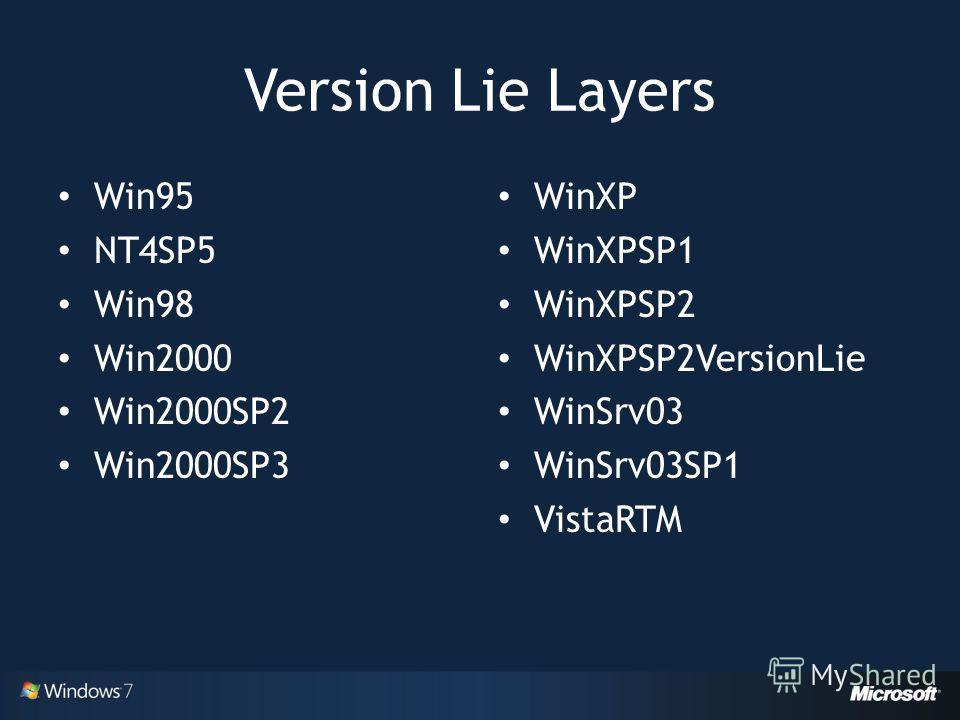 Version Lie Layers Win95 NT4SP5 Win98 Win2000 Win2000SP2 Win2000SP3 WinXP WinXPSP1 WinXPSP2 WinXPSP2VersionLie WinSrv03 WinSrv03SP1 VistaRTM