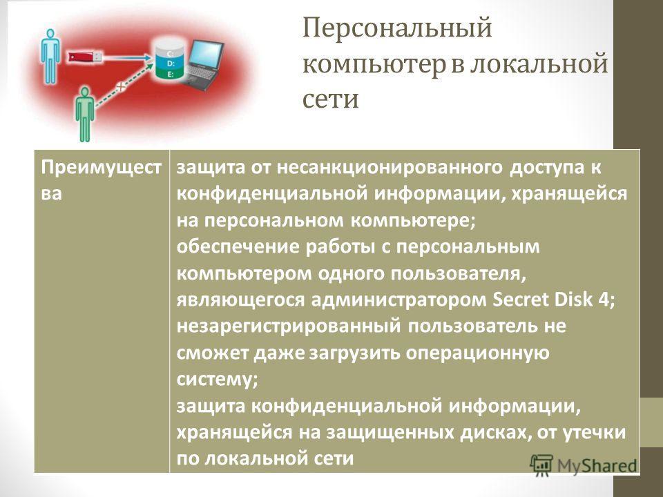Персональный компьютер в локальной сети Преимущест ва защита от несанкционированного доступа к конфиденциальной информации, хранящейся на персональном компьютере; обеспечение работы с персональным компьютером одного пользователя, являющегося админист