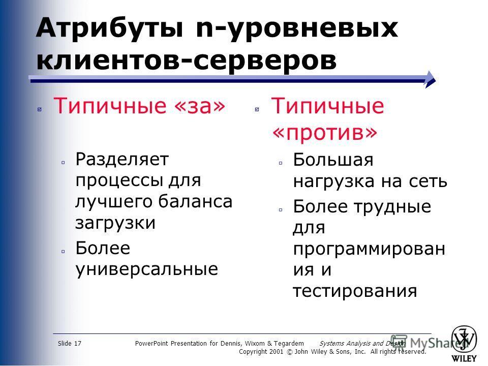 PowerPoint Presentation for Dennis, Wixom & Tegardem Systems Analysis and Design Copyright 2001 © John Wiley & Sons, Inc. All rights reserved. Slide 17 Атрибуты n-уровневых клиентов-серверов Типичные «за» Разделяет процессы для лучшего баланса загруз