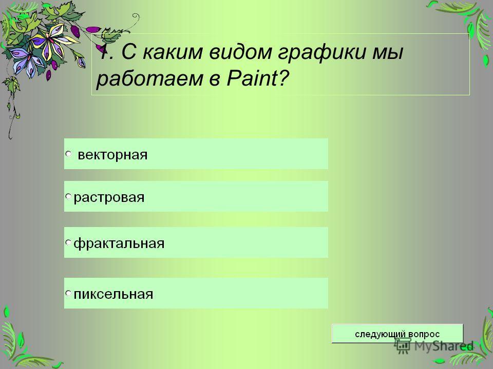 1. С каким видом графики мы работаем в Paint?