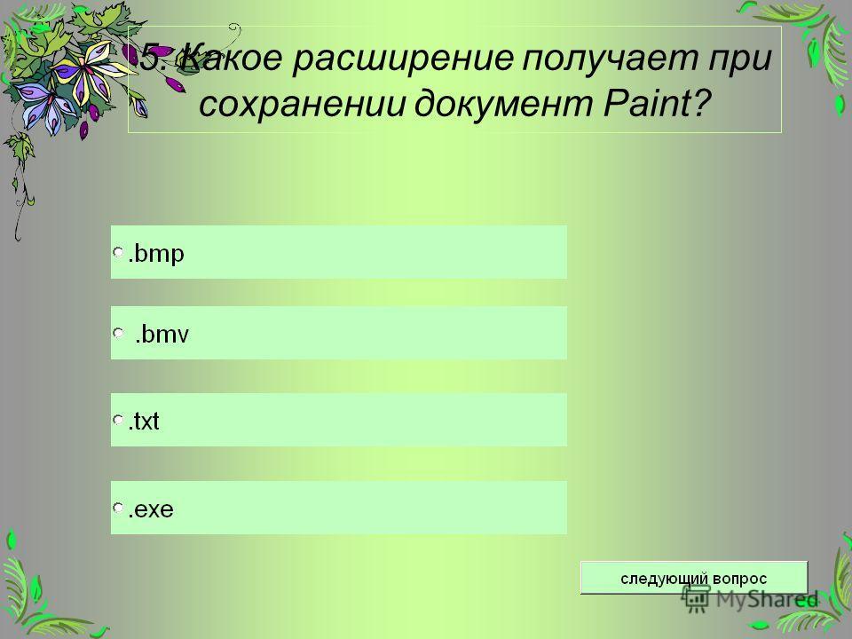 5. Какое расширение получает при сохранении документ Paint?