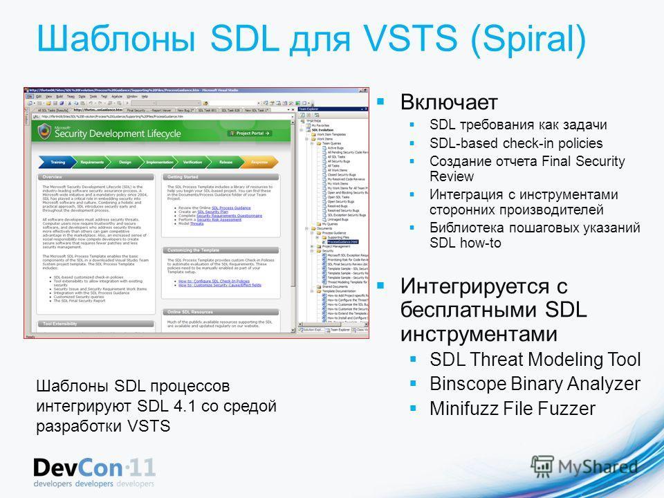 Шаблоны SDL для VSTS (Spiral) Включает SDL требования как задачи SDL-based check-in policies Создание отчета Final Security Review Интеграция с инструментами сторонних производителей Библиотека пошаговых указаний SDL how-to Интегрируется с бесплатным