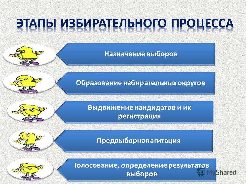 Назначение выборов Образование избирательных округов Выдвижение кандидатов и их регистрация Предвыборная агитация Голосование, определение результатов выборов