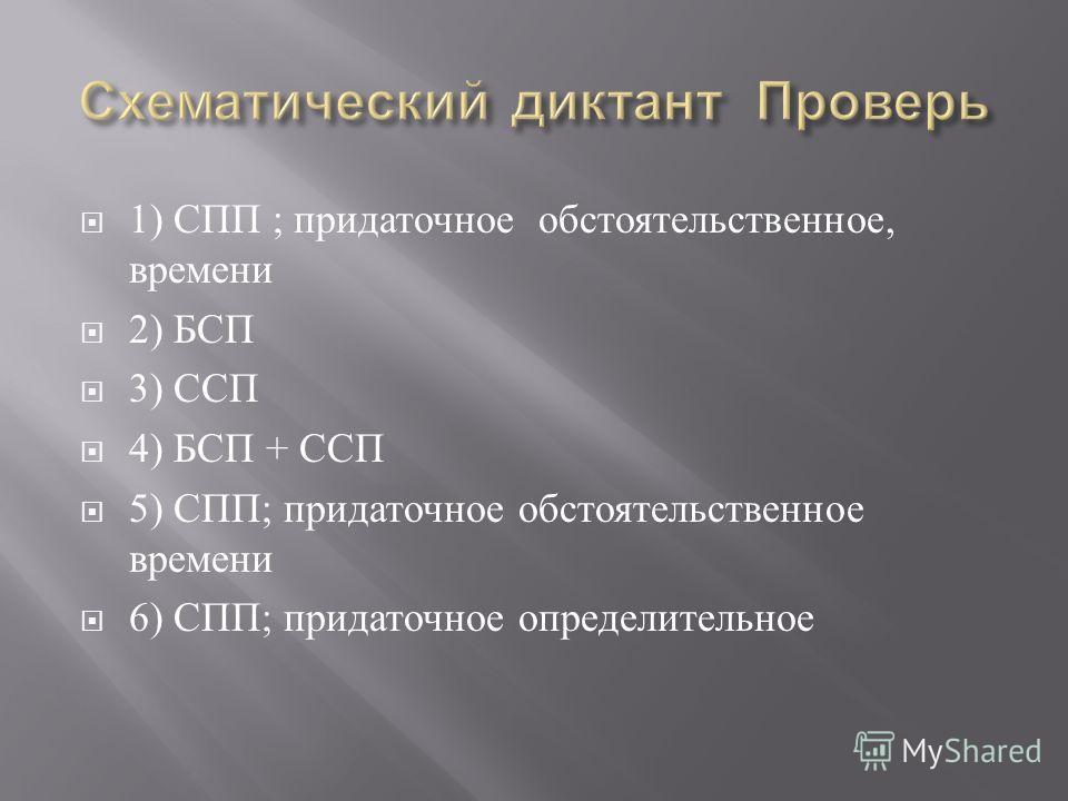 1) СПП ; придаточное обстоятельственное, времени 2) БСП 3) ССП 4) БСП + ССП 5) СПП ; придаточное обстоятельственное времени 6) СПП ; придаточное определительное