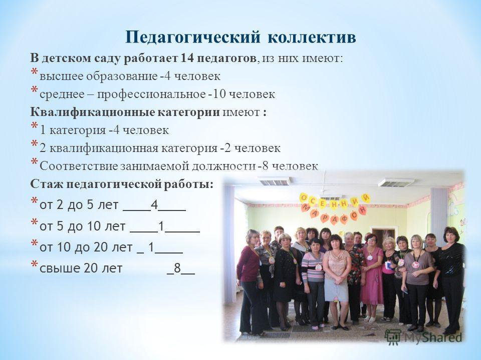 Педагогический коллектив В детском саду работает 14 педагогов, из них имеют: * высшее образование -4 человек * среднее – профессиональное -10 человек Квалификационные категории имеют : * 1 категория -4 человек * 2 квалификационная категория -2 челове