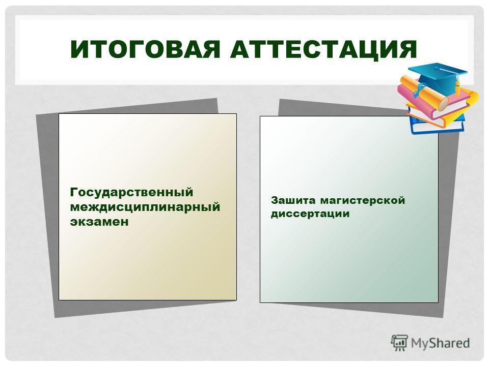 ИТОГОВАЯ АТТЕСТАЦИЯ Государственный междисциплинарный экзамен Зашита магистерской диссертации