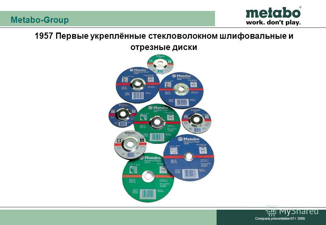 Metabo-Group Company presentation 07 / 2005 1957 Первые укреплённые стекловолокном шлифовальные и отрезные диски