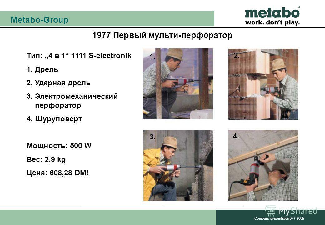 Metabo-Group Company presentation 07 / 2005 1977 Первый мульти-перфоратор Тип: 4 в 1 1111 S-electronik 1. Дрель 2. Ударная дрель 3. Электромеханический перфоратор 4. Шуруповерт Мощность: 500 W Вес: 2,9 kg Цена: 608,28 DM!