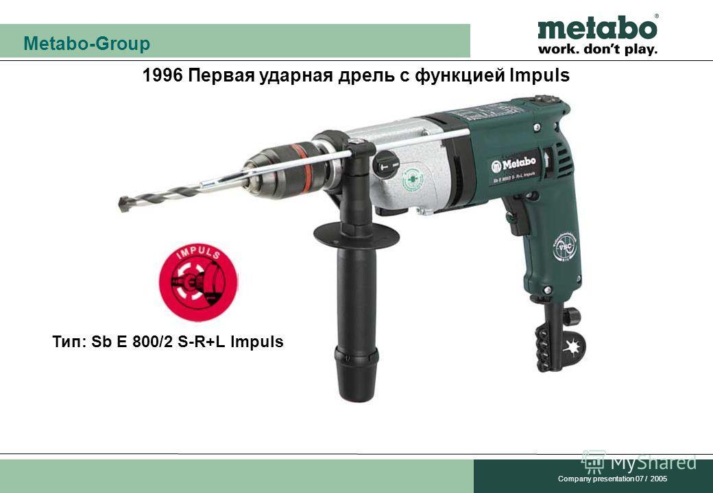Metabo-Group Company presentation 07 / 2005 1996 Первая ударная дрель с функцией Impuls Тип: Sb E 800/2 S-R+L Impuls