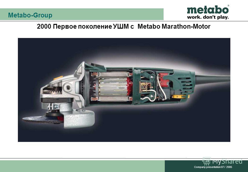 Metabo-Group Company presentation 07 / 2005 2000 Первое поколение УШМ с Metabo Marathon-Motor