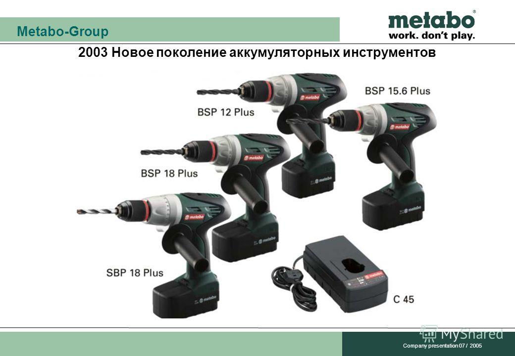 Metabo-Group Company presentation 07 / 2005 2003 Новое поколение аккумуляторных инструментов