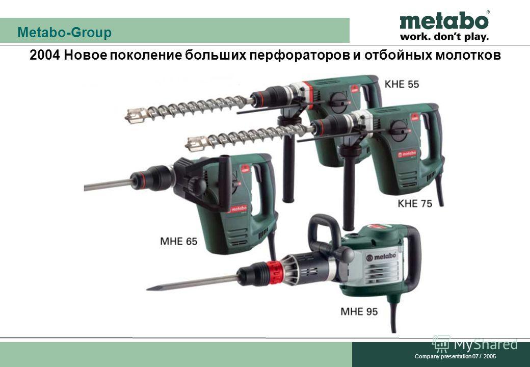 Metabo-Group Company presentation 07 / 2005 2004 Новое поколение больших перфораторов и отбойных молотков