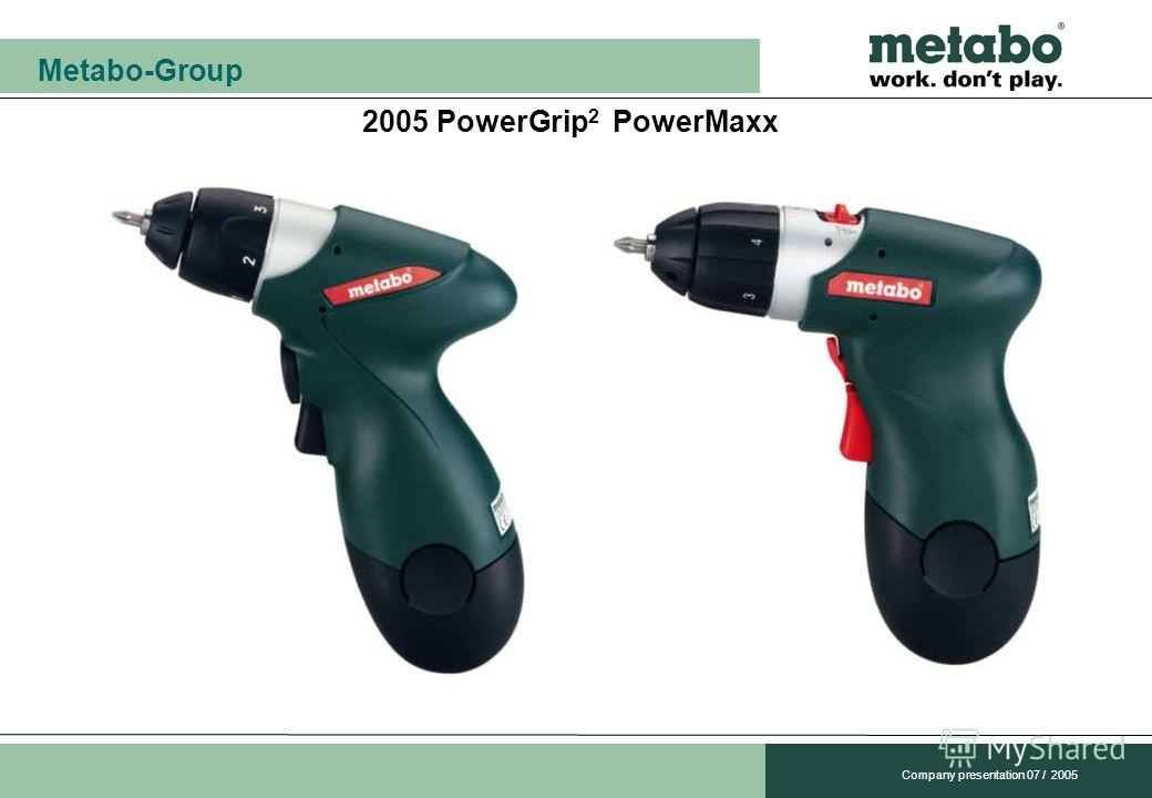 Metabo-Group Company presentation 07 / 2005 2005 PowerGrip 2 PowerMaxx