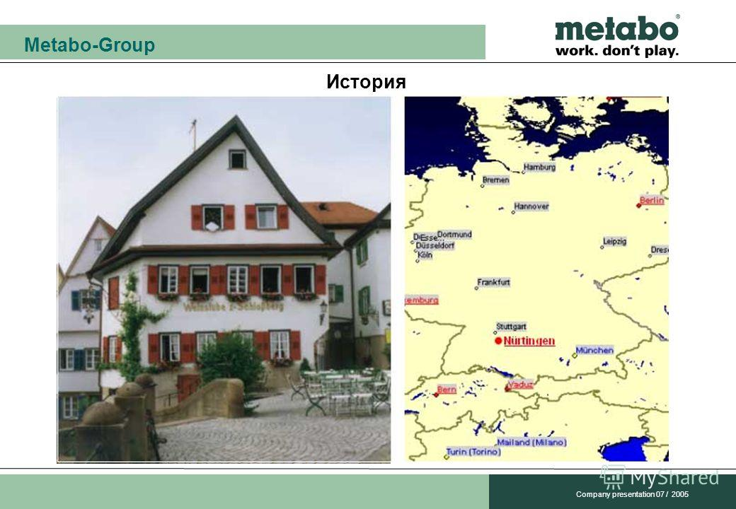 Metabo-Group Company presentation 07 / 2005 История