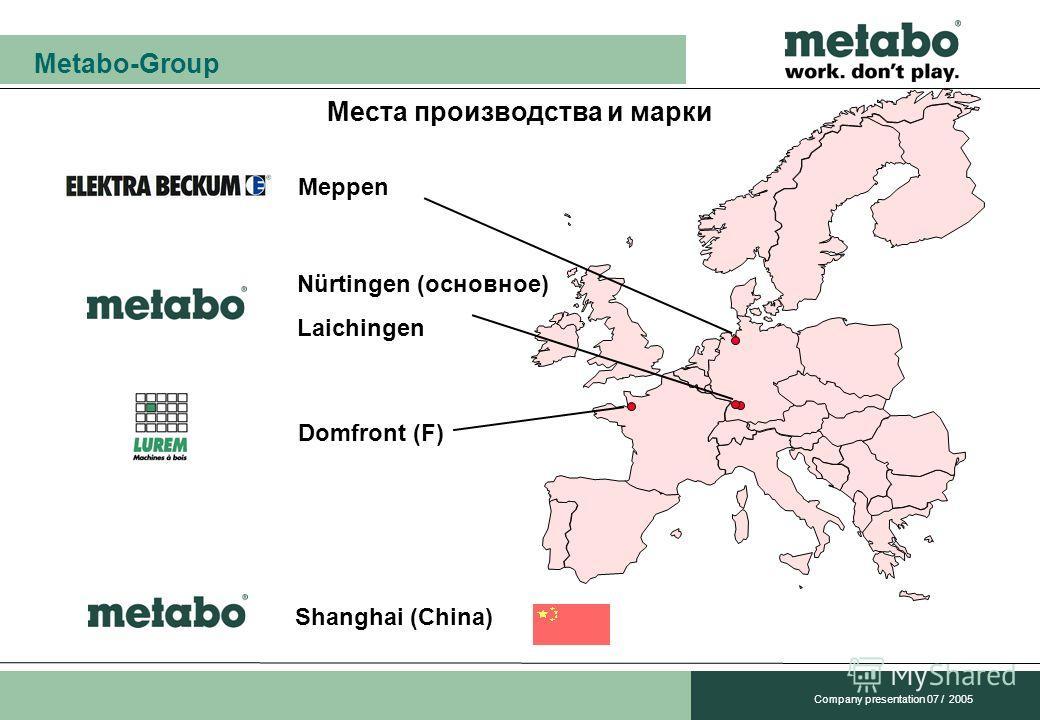 Metabo-Group Company presentation 07 / 2005 Места производства и марки Nürtingen (основное) Laichingen Meppen Domfront (F) Shanghai (China)