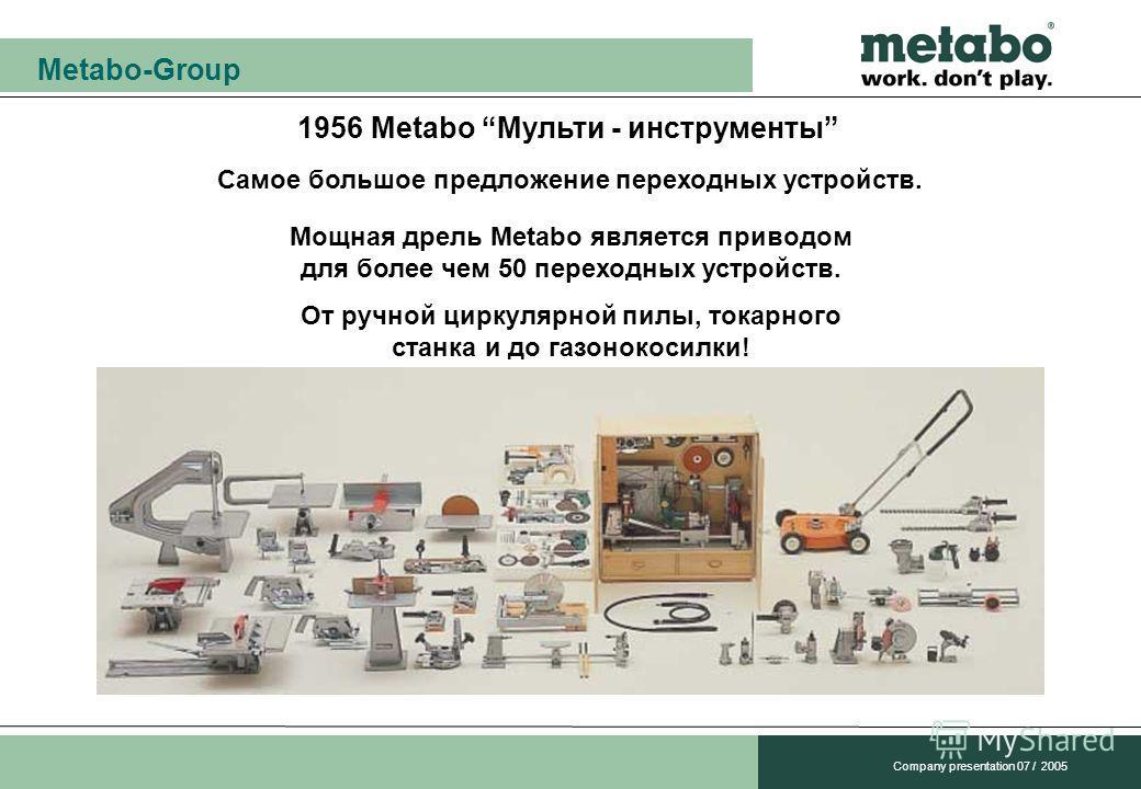 Metabo-Group Company presentation 07 / 2005 1956 Metabo Мульти - инструменты Самое большое предложение переходных устройств. Мощная дрель Metabo является приводом для более чем 50 переходных устройств. От ручной циркулярной пилы, токарного станка и д