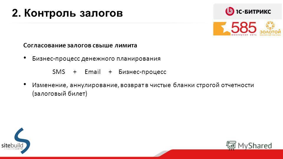 2. Контроль залогов Согласование залогов свыше лимита Бизнес-процесс денежного планирования SMS + Email + Бизнес-процесс Изменение, аннулирование, возврат в чистые бланки строгой отчетности (залоговый билет)