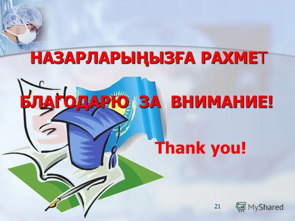 21 БЛАГОДАРЮ ЗА ВНИМАНИЕ! НАЗАРЛАРЫҢЫЗҒА РАХМЕТ Thank you!