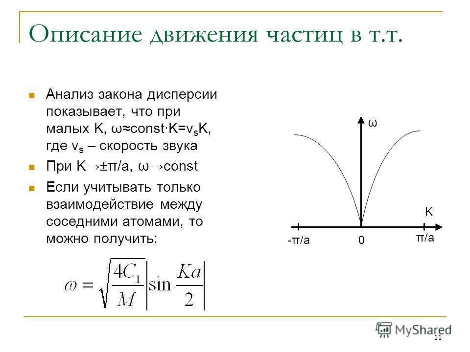 11 Описание движения частиц в т.т. Анализ закона дисперсии показывает, что при малых K, ωconst·K=v s K, где v s – скорость звука При K±π/a, ωconst Если учитывать только взаимодействие между соседними атомами, то можно получить: 0 π/a -π/a ω K