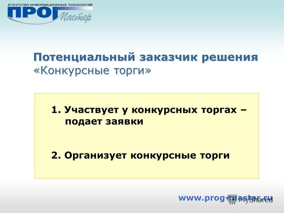 www.prog-master.ru Потенциальный заказчик решения «Конкурсные торги» 1. Участвует у конкурсных торгах – подает заявки 2. Организует конкурсные торги