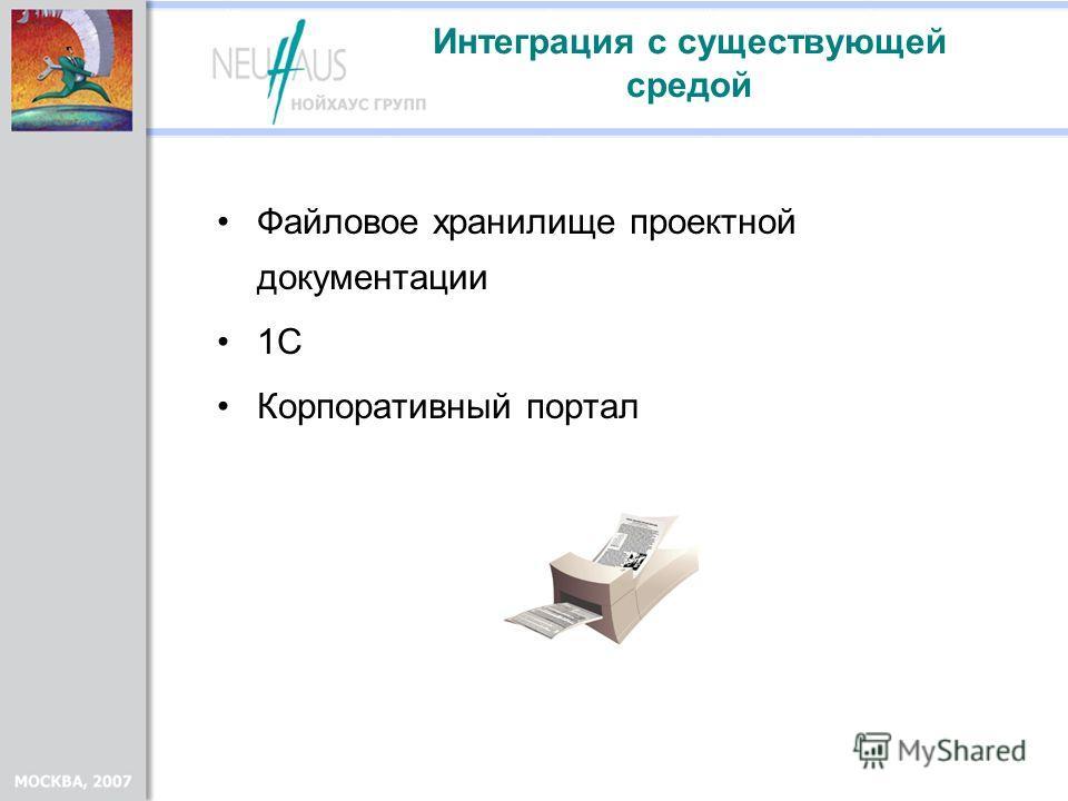 Интеграция с существующей средой Файловое хранилище проектной документации 1С Корпоративный портал