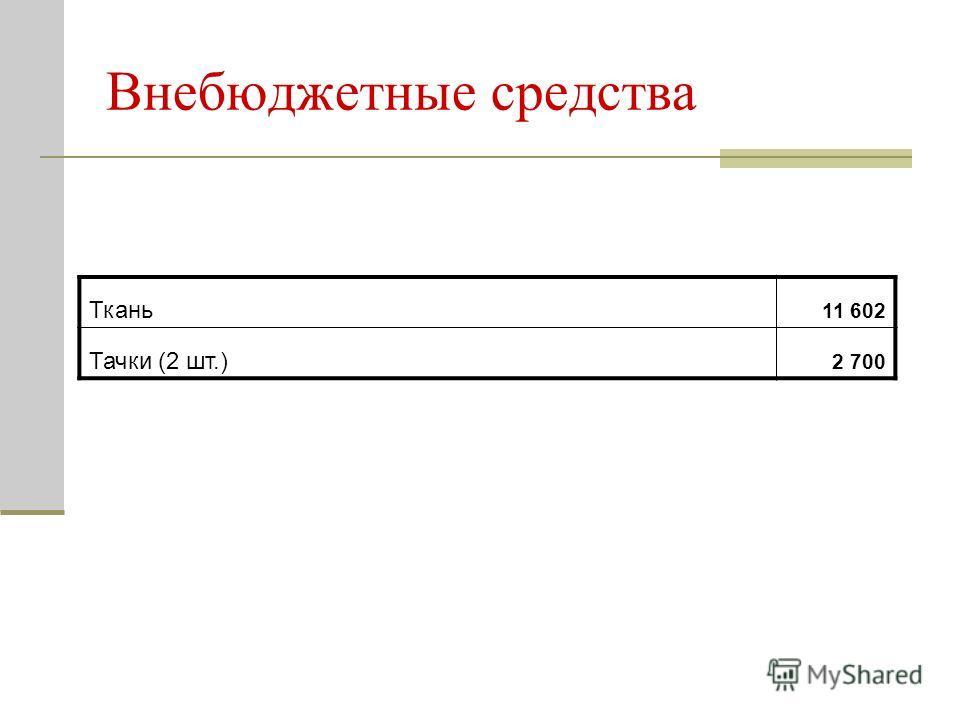 Внебюджетные средства Ткань 11 602 Тачки (2 шт.) 2 700