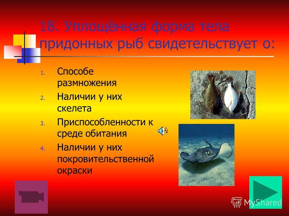 17.По характеру питания окуня относят к: 1. Хищникам 2. Растительно- ядным 3. Сапрофитам 4. Паразитам