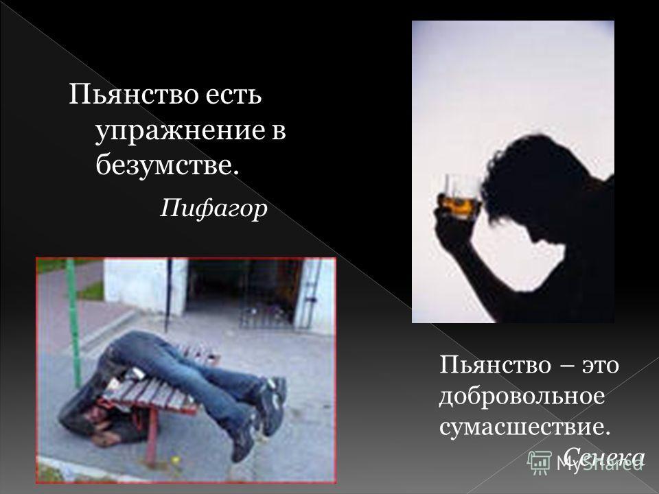 Пьянство есть упражнение в безумстве. Пифагор Пьянство – это добровольное сумасшествие. Сенека