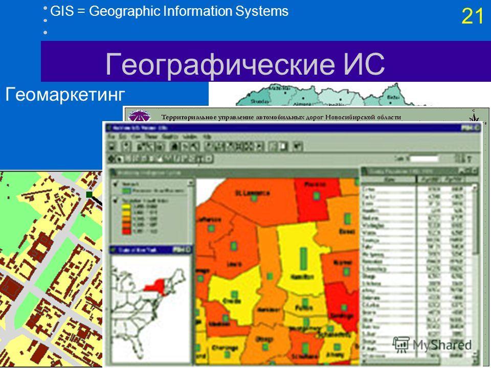 20 GIS = Geographic Information Systems Географические ИС Муниципальные ГИС демографические данные инженерная, транспортная инфраструктура градостроительные регламенты использования городской территории правила застройки (зонирование) дежурная карта