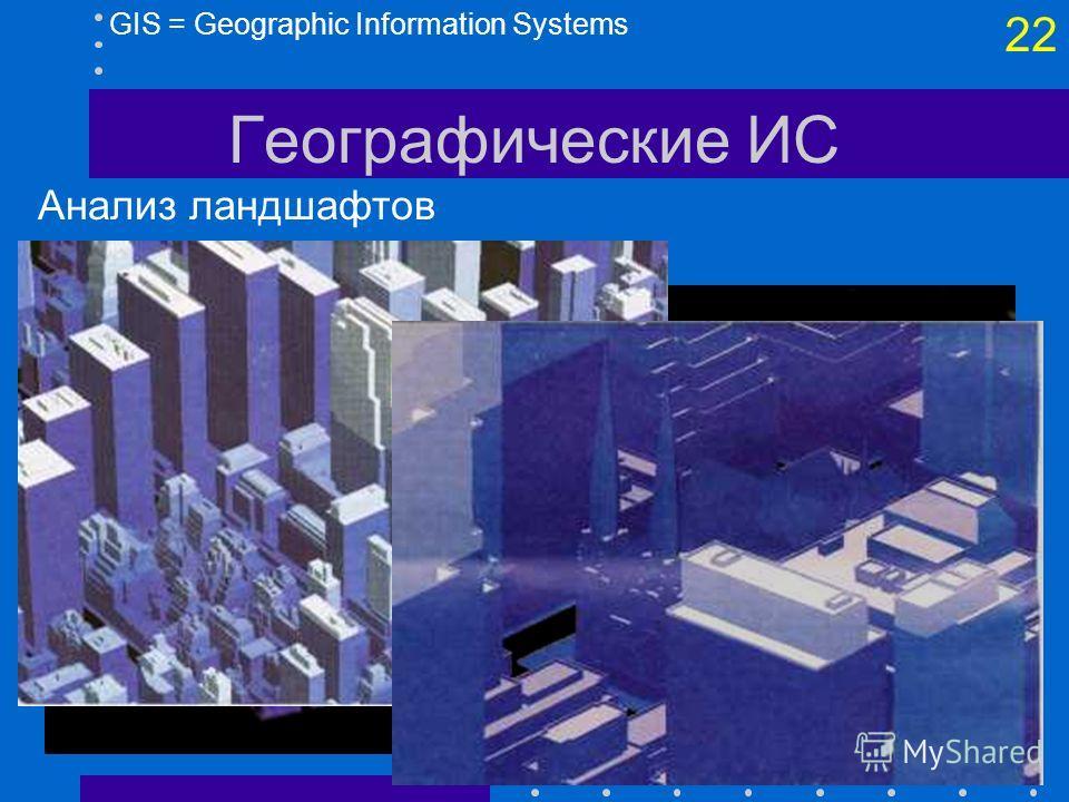21 GIS = Geographic Information Systems Географические ИС Геомаркетинг