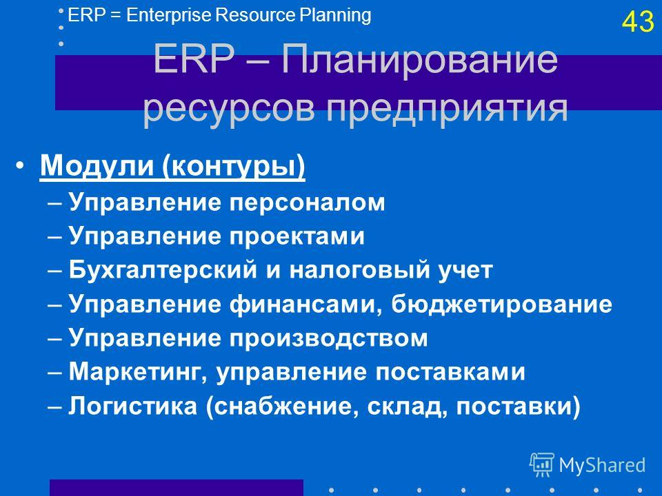 42 ERP – Планирование ресурсов предприятия Назначение –Содействие потокам информации внутри предприятия между подразделениями –Поддержка связей с другими предприятиями Функции –Сбор данных об операциях в основных и вспомогательных видах деятельности