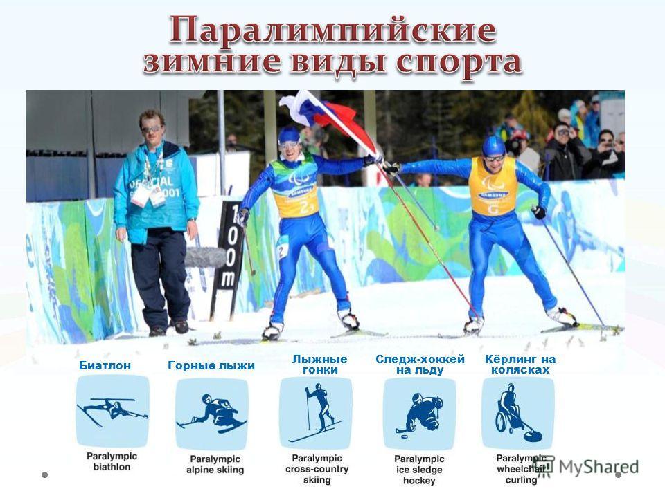 Горные лыжи Лыжные гонки Биатлон Кёрлинг на колясках Следж-хоккей на льду