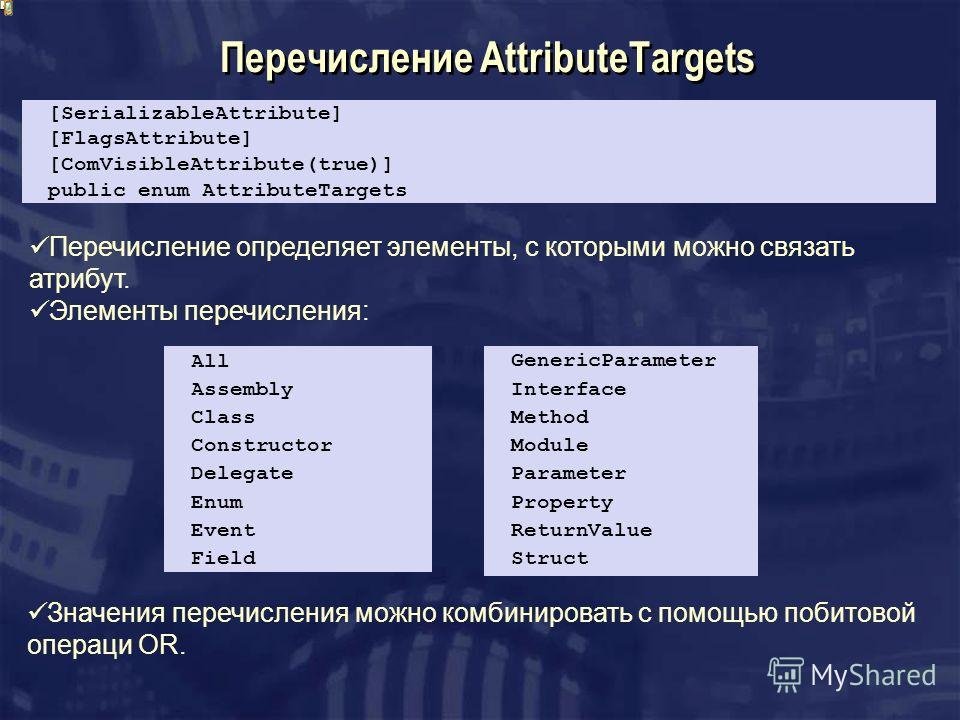 Перечисление AttributeTargets [SerializableAttribute] [FlagsAttribute] [ComVisibleAttribute(true)] public enum AttributeTargets All Assembly Class Constructor Delegate Enum Event Field GenericParameter Interface Method Module Parameter Property Retur