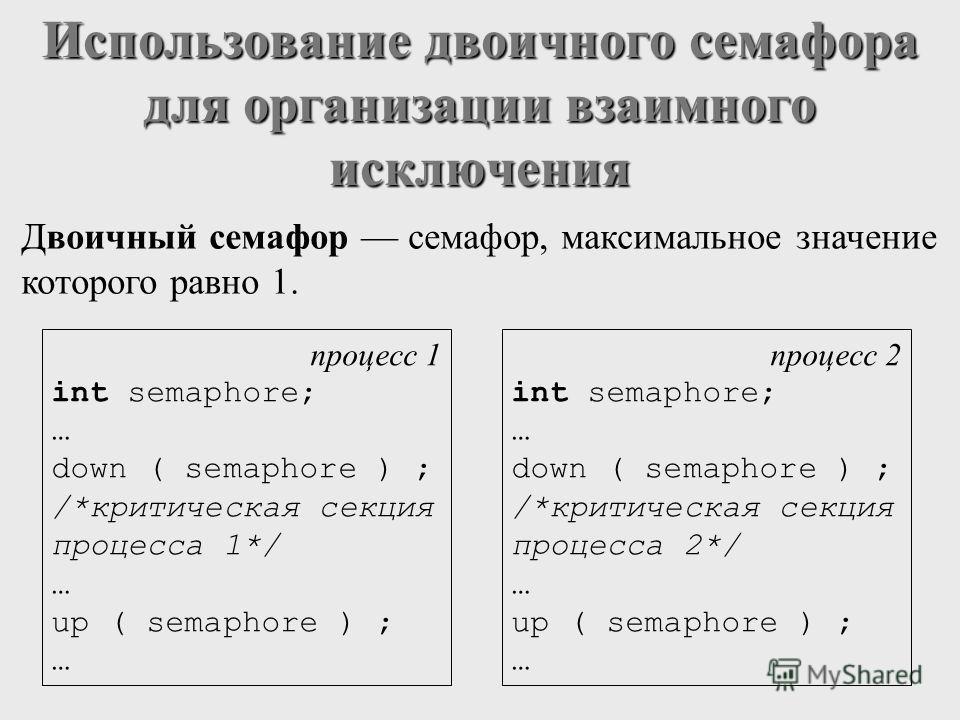 Использование двоичного семафора для организации взаимного исключения Двоичный семафор семафор, максимальное значение которого равно 1. процесс 1 int semaphore; … down ( semaphore ) ; /*критическая секция процесса 1*/ … up ( semaphore ) ; … процесс 2