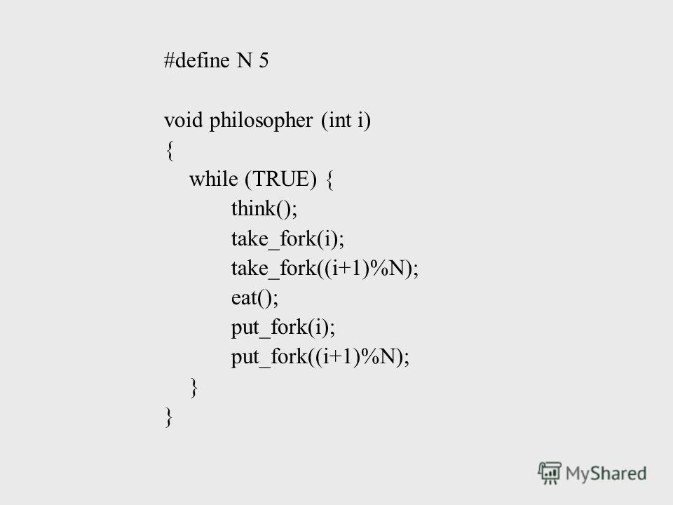 #define N 5 void philosopher (int i) { while (TRUE) { think(); take_fork(i); take_fork((i+1)%N); eat(); put_fork(i); put_fork((i+1)%N); }