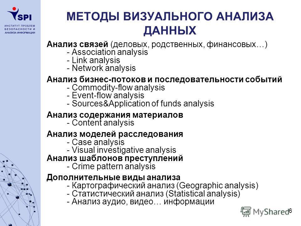 6 МЕТОДЫ ВИЗУАЛЬНОГО АНАЛИЗА ДАННЫХ Анализ связей (деловых, родственных, финансовых…) - Association analysis - Link analysis - Network analysis Анализ бизнес-потоков и последовательности событий - Commodity-flow analysis - Event-flow analysis - Sourc
