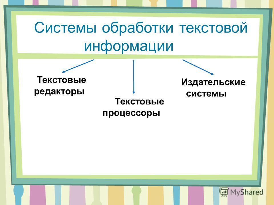 Системы обработки текстовой информации Текстовые редакторы Текстовые процессоры Издательские системы