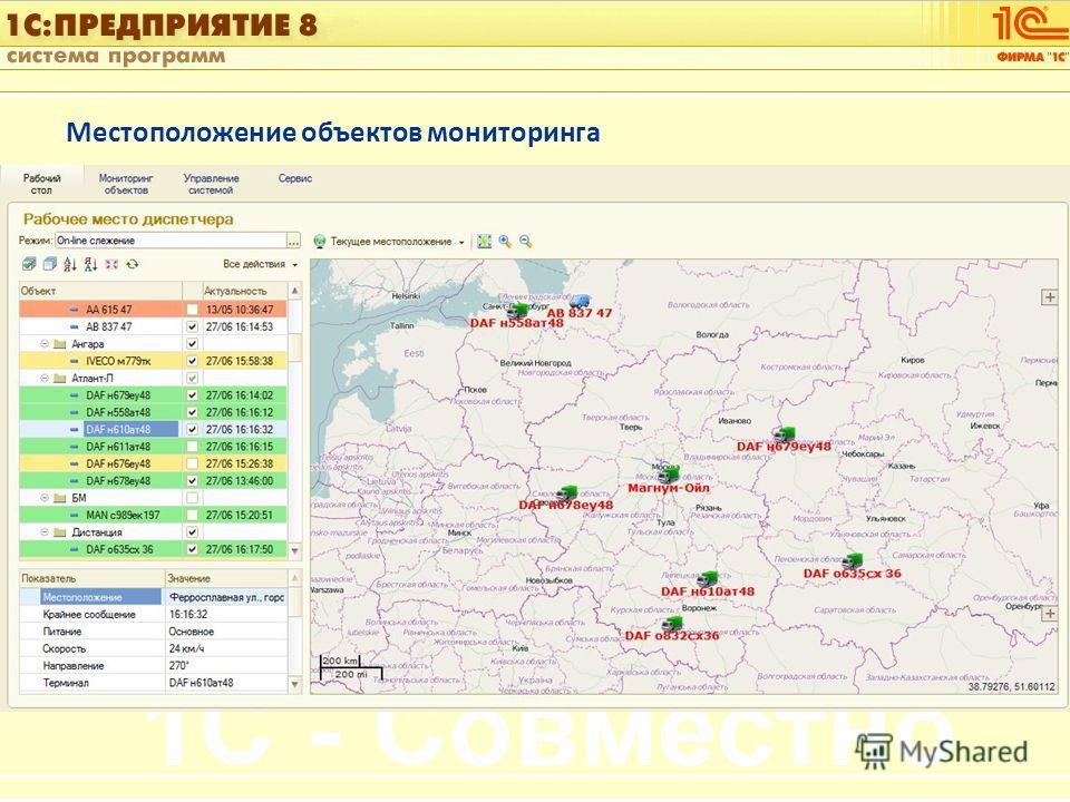 1С:Управление автотранспортом Слайд 13 из [60] Местоположение объектов мониторинга