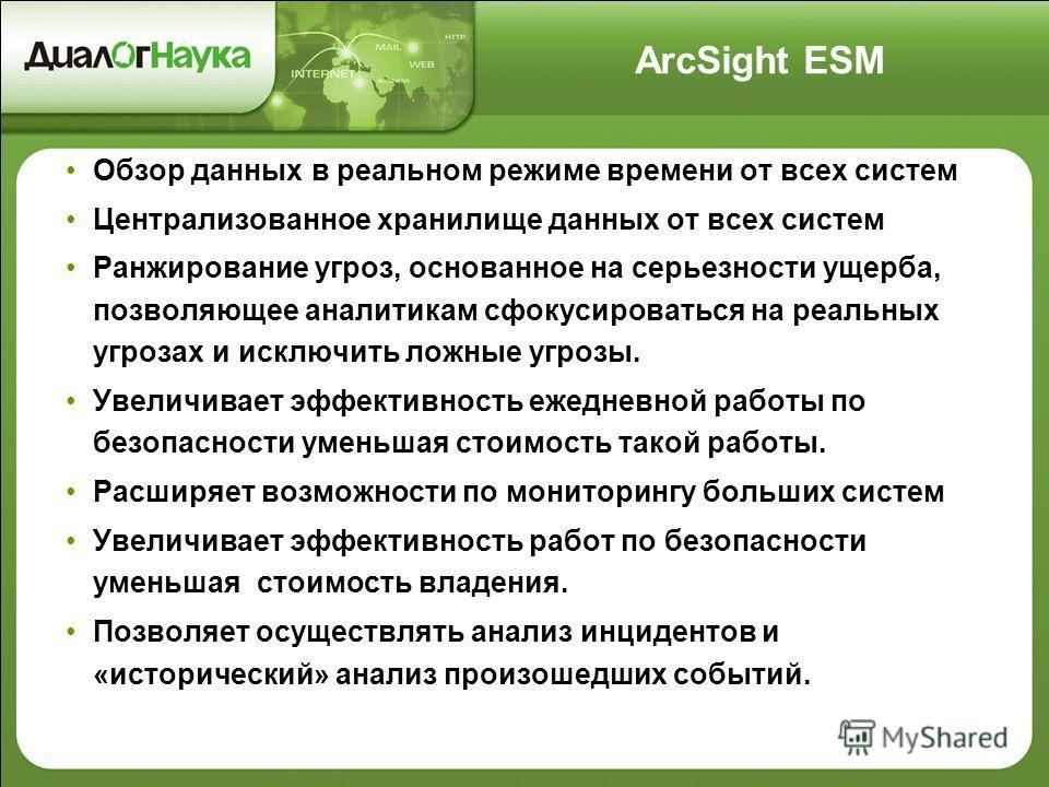 ArcSight ESM Обзор данных в реальном режиме времени от всех систем Централизованное хранилище данных от всех систем Ранжирование угроз, основанное на серьезности ущерба, позволяющее аналитикам сфокусироваться на реальных угрозах и исключить ложные уг