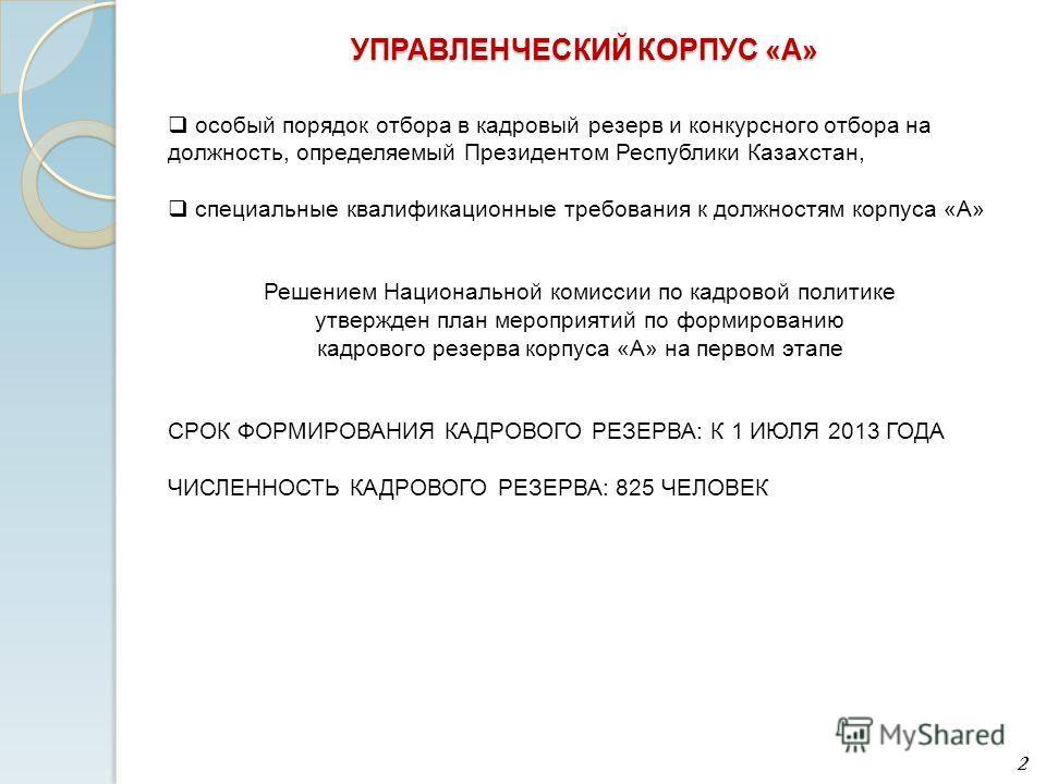 особый порядок отбора в кадровый резерв и конкурсного отбора на должность, определяемый Президентом Республики Казахстан, специальные квалификационные требования к должностям корпуса «А» Решением Национальной комиссии по кадровой политике утвержден п