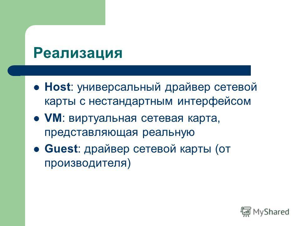 Реализация Host: универсальный драйвер сетевой карты с нестандартным интерфейсом VM: виртуальная сетевая карта, представляющая реальную Guest: драйвер сетевой карты (от производителя)