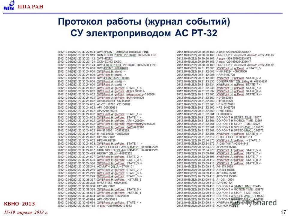КВНО-2013 15-19 апреля 2013 г. ИПА РАН 17 Протокол работы (журнал событий) СУ электроприводом АС РТ-32
