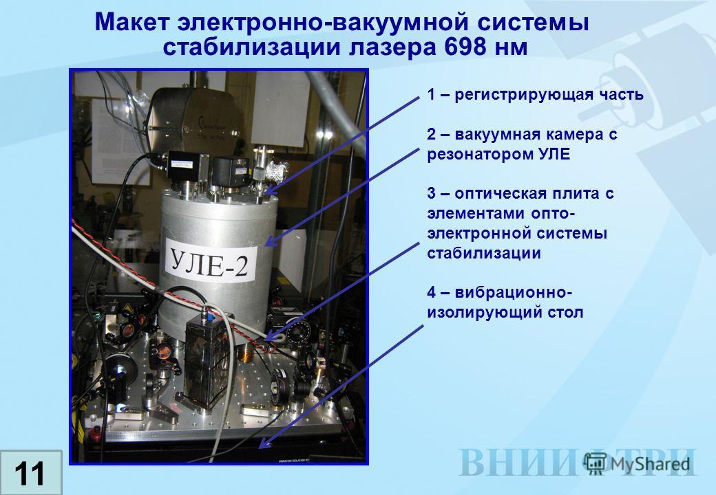 Макет электронно-вакуумной системы стабилизации лазера 698 нм 1 – регистрирующая часть 2 – вакуумная камера с резонатором УЛЕ 3 – оптическая плита с элементами опто- электронной системы стабилизации 4 – вибрационно- изолирующий стол 11