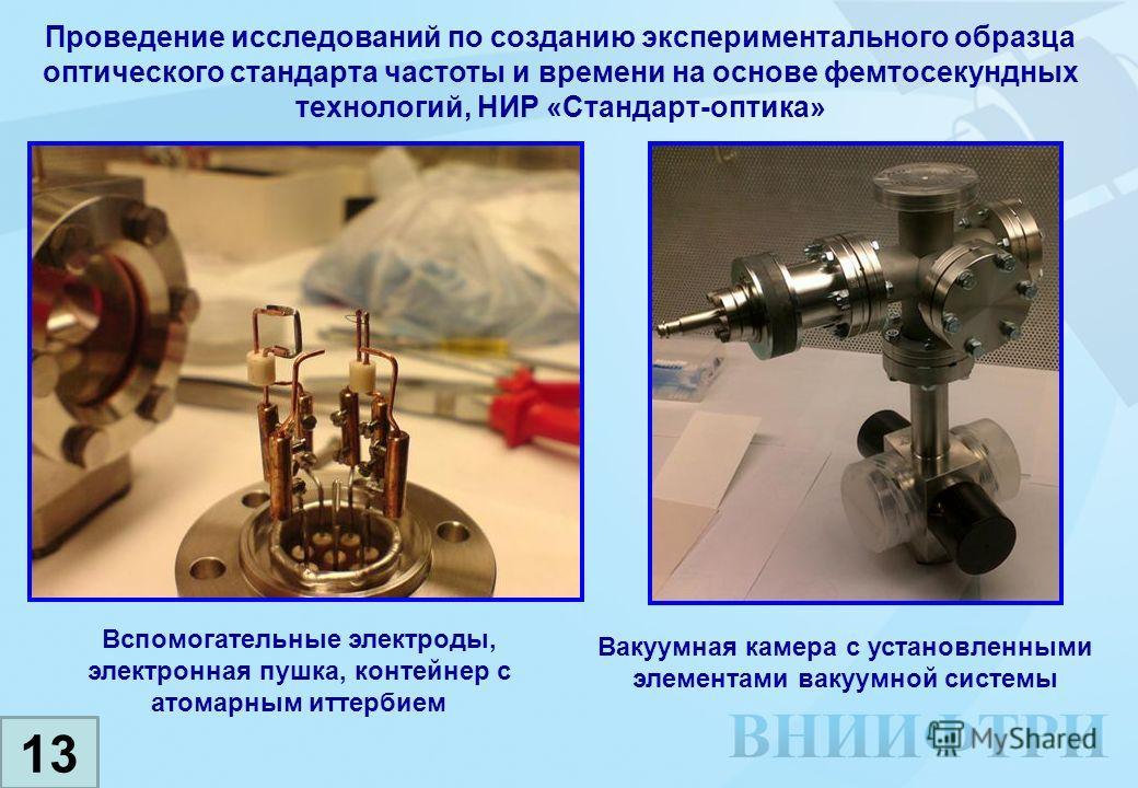 Проведение исследований по созданию экспериментального образца оптического стандарта частоты и времени на основе фемтосекундных технологий, НИР «Стандарт-оптика» Вспомогательные электроды, электронная пушка, контейнер с атомарным иттербием 13 Вакуумн