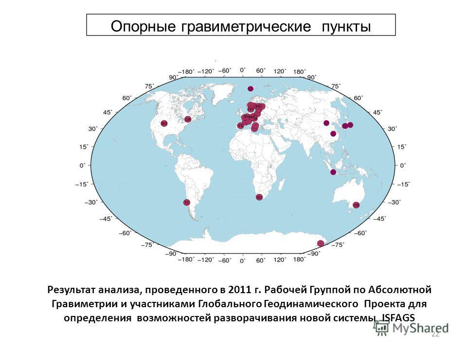 Опорные гравиметрические пункты Результат анализа, проведенного в 2011 г. Рабочей Группой по Абсолютной Гравиметрии и участниками Глобального Геодинамического Проекта для определения возможностей разворачивания новой системы ISFAGS 22