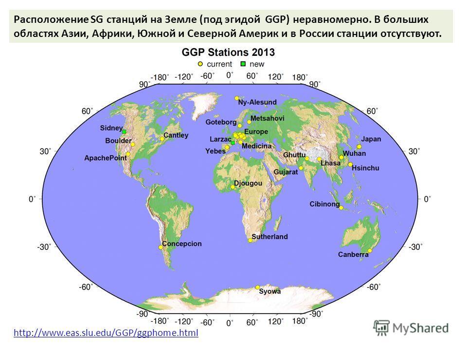 http://www.eas.slu.edu/GGP/ggphome.html Расположение SG станций на Земле (под эгидой GGP) неравномерно. В больших областях Азии, Африки, Южной и Северной Америк и в России станции отсутствуют.